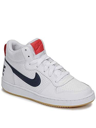 Nike Jungen Court Borough MID (GS) Basketballschuhe, Weiß (White/Obsidian/Univ Red/Gum Lt Brown 107), 36 EU