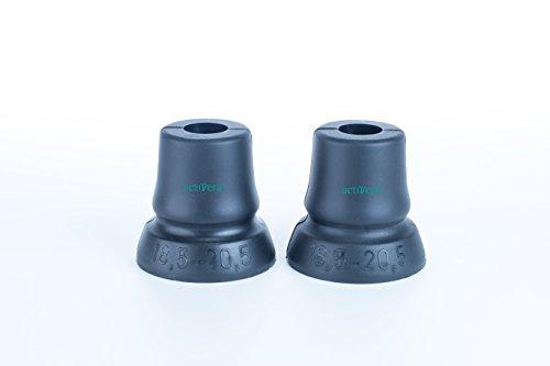 2er Set activera® Gehhilfenfuß mit großer Auflagefläche, ideal für Unterarmgehstützen Gehstöcke Gehhilfen passend für Rohre mit D= 18,5 mm - 20,5 mm