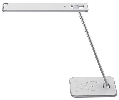 UNILUX 400093836 Lampe de bureau LED, Aluminium, Integriert, 11 W, Gris métal/Blanc, 41 x 32,8 x 20,5 cm