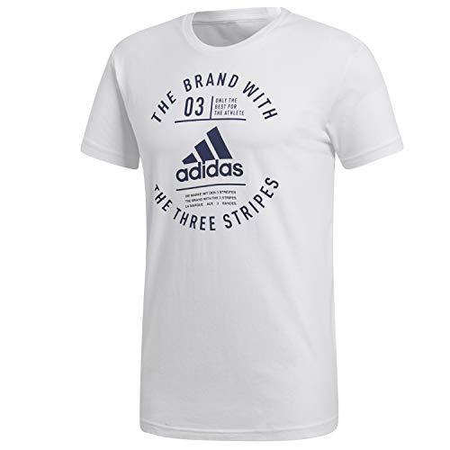 adidas Herren Emblem Kurzarm-Shirt, White, XL