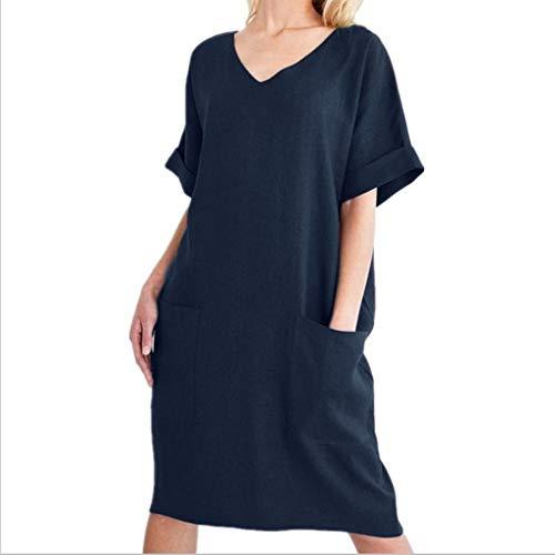 leid Baumwolle Soft Short Sleeve Taschen Strandkleid M navy ()