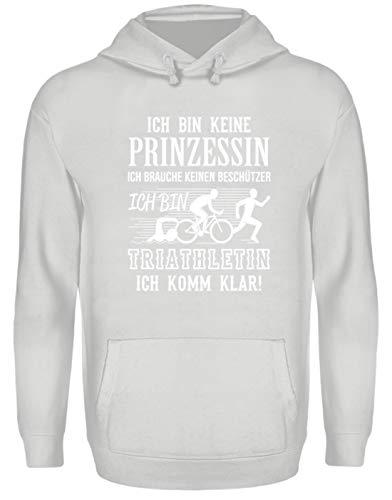Triathlon Shirt · Sport-Bekleidung · Geschenkidee für Triathleten/innen · Triathlon Motiv/ - Unisex Kapuzenpullover Hoodie -S-Sport Grau (Triathlon Hoodie)
