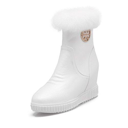 Rotondi Stivali Bianco Flessibile Alti Tacco Zip Agoolar Materiale Metallo Mosaico Con Donne q0EPUW