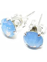pewterhooter 925 Sterling Silver stud earrings expertly made with Air Blue Opal crystal from SWAROVSKI® for Women