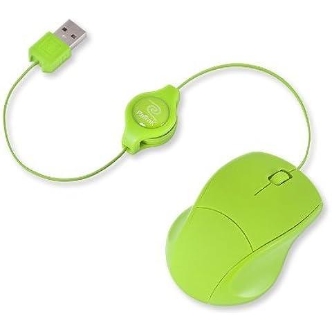 Retrak EUMOUSE - Mini mouse ottico con cavo USB retrattile per PC/MAC verde