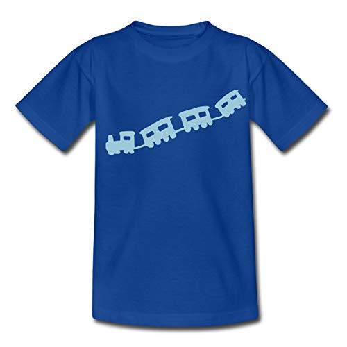 Spreadshirt Petit Train avec Locomotive T-Shirt Enfant, 98/104 (3-4 Ans), Bleu Royal