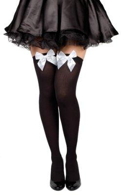 Nylon halterlose Strümpfe schwarz mit weißer Schleife für Fasching Karneval Party