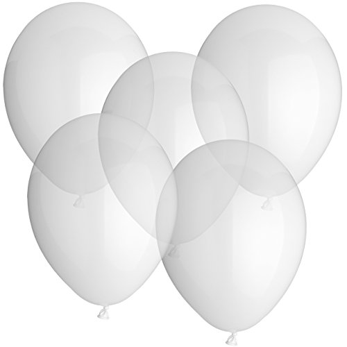 Luftballons Gummiballons Latexballons Europäische Premiumqualität 50 Stück - Ø 30cm - auch als Heliumballon geeignet - für JEDEN Anlass wie z.B. Hochzeit Geburtstag Firmenfeier perfekt geeignet - freie Farbauswahl - 100% Naturlatex - biologisch abbaubar (Klar Durchsichtig Transparent)