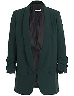 Simplee Apparel Damen Lang Blazer Elegant Langarm Revers Blazer Büro Jacke Suit Cardigan mit Rüschenhülse