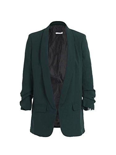 Simplee Apparel Damen Lang Blazer Elegant Langarm Revers Blazer Büro Jacke Suit Cardigan mit Rüschenhülse Grün (Anzug Jacke Blazer Hose)