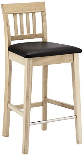 Furnhouse Modern Skandinavisch Design Vintage Schwarz Kunstleder Polster Barstuhl mit Rückenlehne Texas, 2er-Set, Massivholz Eiche, L44xB45xH93 cm