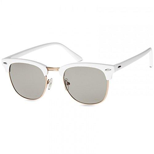 Caspar SG040 Unisex Vintage RETRO Design Sonnenbrille, Farbe:weiss/schwarz getönt