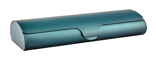 Flaches Brillenetui mit Aluminium-Außenschale und Schnappverschluß in verschiedenen Farben und...