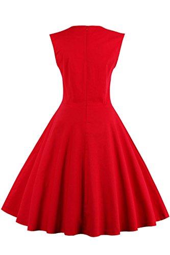 Babyonlinedress Robe de Soirée/Bal Courte Rétro Vintage Impression année 1950 Style Audrey Hepburn Rockabilly Swing sans manche avec Boutons Grande Taille Pois Rouge846