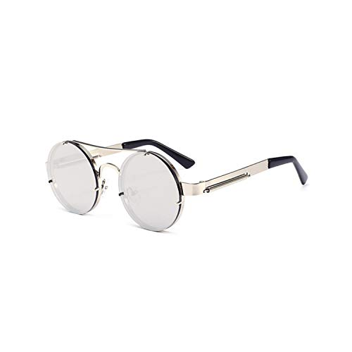 Sportbrillen, Angeln Golfbrille,Vintage Steampunk Sunglasses Women Men Classic Metal Sun Glasses Ladies Round Style Steam Punk Sunglass UV400 Male Female Silver