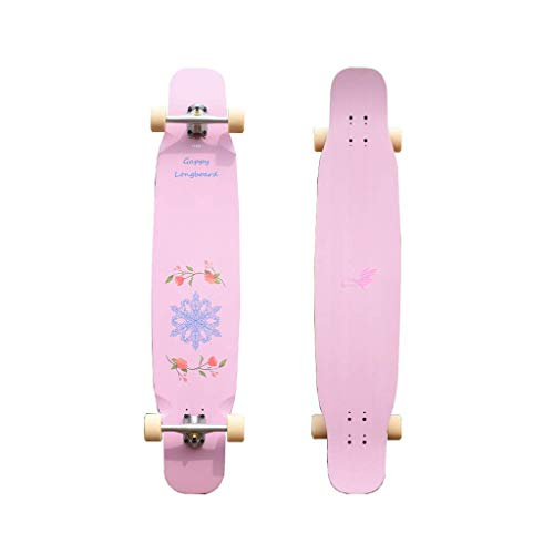 WENYAO Skateboards Professionelles Tanzbrett Brush Street Long Board Komplettes Skateboard Flat Flower Action Road Weiches/Hartes Brett - Schneeflocke -