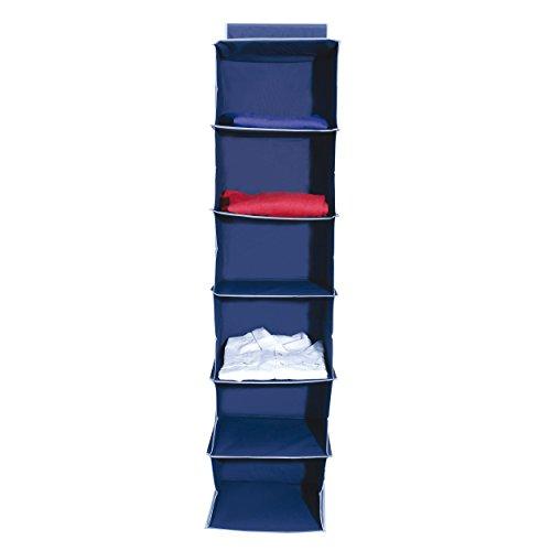 MSV Hängeregal 6 Fächer für Kleiderschrank, faltbar, HxBxT: ca. 122 x 30 x 20 cm, blau