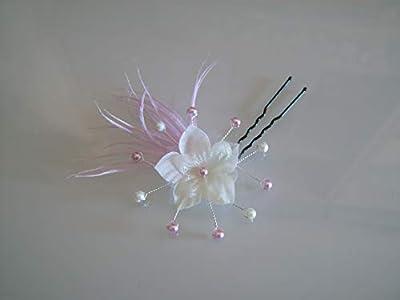 Pics Epingle Fleur cheveux Rose clair Pastel Ivoire Crème Blanc Barrette pince femme Pâle Tende Perles Plumes p Mariée Mariage Cérémonie Danse classique (petit prix, pas cher)