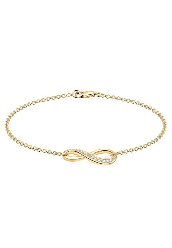 Elli Damen Schmuck Armband Gliederarmband Infinity  Unendlichkeit Liebe Freundschaft Forever Liebesbeweis Silber 925 Vergoldet Zirkonia Gold Länge 18 cm