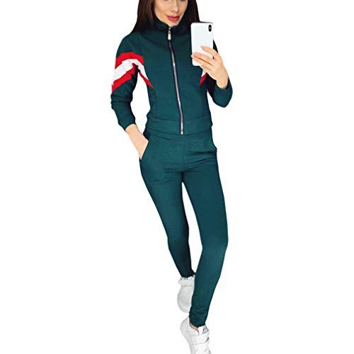 Yying Trainingsanzug Damen Zweiteiler Casual Sportsuit Langarm Zip Jacke und Hose Jogger Jogginghose Trainingsanzug Damen Sportanzüge