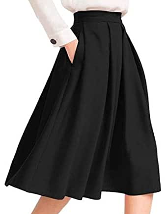 Tanvi Creations Women's High Waist Flared Skirt Pleated Midi Skirt with Pocket