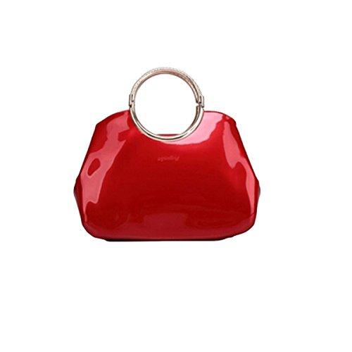 Exquisite Art Und Weisedamen Helle Lederne Handtasche Einfache Wilde Schulter Kurierbeutel Red1