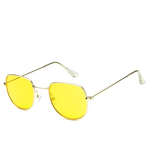 Sonnenbrille Sonnenbrille Retro Metallrahmen Uv400 Klare Linse Plain Gläser Im Sommer Sonnenbrillen Für Männer Frauen Reisen Spiegel Golden (Wayfarer Gläser Plain)