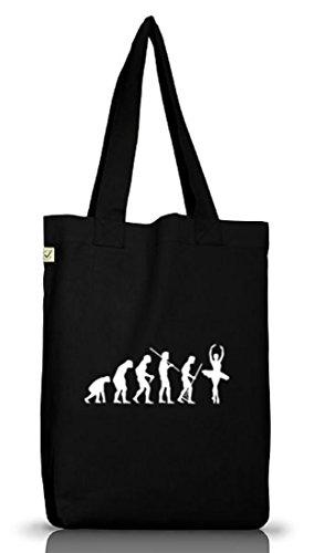 Shirtstreet24, EVOLUTION BALLETT, Ballerina Jutebeutel Stoff Tasche Earth Positive, Größe: onesize,Black