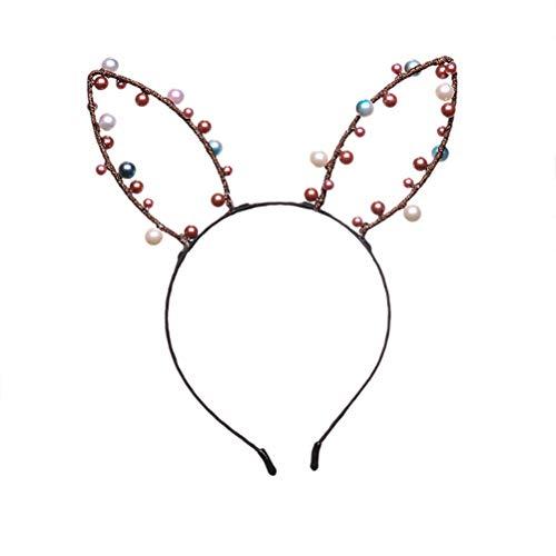 Lurrose Schöne Kaninchen Ohren Haarband Bunny Haarband Mit Perlen Ostern Kopfschmuck Party Favors Foto Requisiten für Mädchen ()