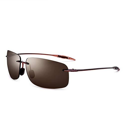 CCGSDJ Randlose Sonnenbrille Männer Ultraleicht Hochwertige Quadratische Rahmenlose Sonnenbrille Für Frauen Markendesigner Nylon Objektiv