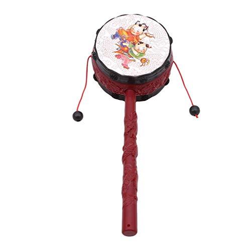LIXIAQ1 1 Stücke Rassel Trommel Chinesisch-Traditionelle Spin Spielzeug Baby Kind Percussion Pädagogisches Musikinstrument Spielzeug (Chinesische Trommeln)