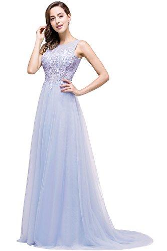 Damen Tüll Brautjunfernkleid Hochzeitskleid Appilque Maxilang Rückenfrei Flieder 36