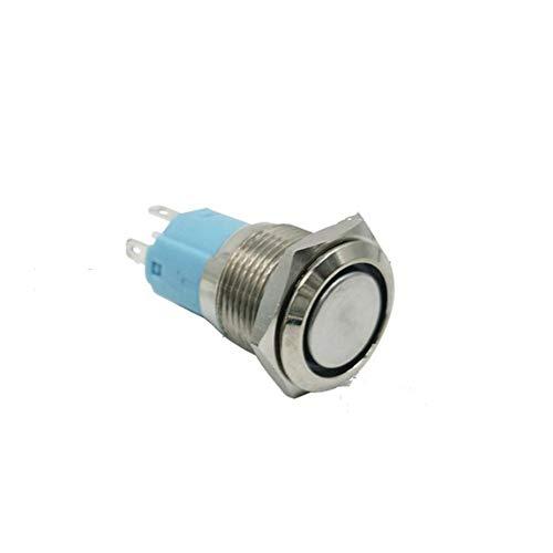 Xuba 16 mm métal Bouton poussoir Interrupteur Bague annulaire LED 5-380 V 12 V 6 V Clef auto-serrant momentané verrouillage étanche de voiture auto Engine bleu