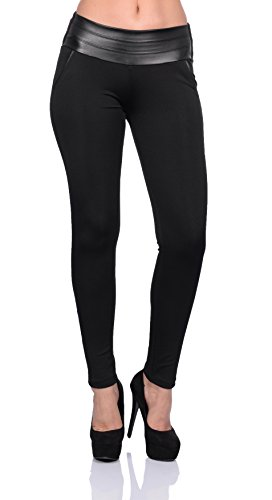 Stretch Hose breiter Bund Jeggings Treggings Leggings Röhre Stoff Leggins von Fashionshine24 (S/36)
