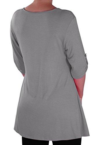 EyeCatch - Eva Aux femmes Bouton Avant Aavec Encolure Dégagée Tunique Grande Taille Dames T-shirt Long Tops Gris