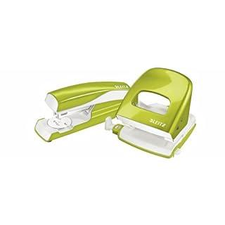 Esselte Leitz Locher NeXXt 5008 und Heftgerät NeXXt 5502 im Set, grün metallic