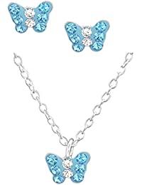 FIVE-D Set Cadena Infantil Pendientes Colgante Cristales pequeño Mariposa 925Plata en Caja de Regalo