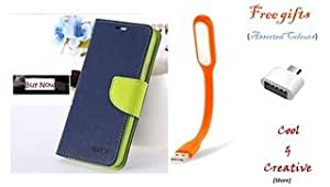 Cool & Creative Covers For APPLE I PHONE 6+ (Plus) Flip Cover Dairy Case With Free LED Light and OTG ( Blue & Green )