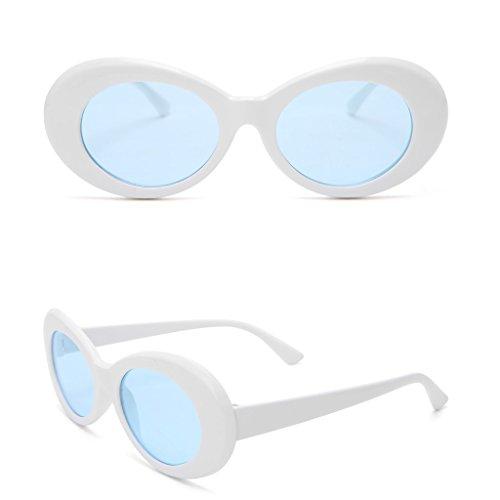 Dairyshop Dame Fashion Vintage Sonnenbrille Runde Rahmen Katze Auge Übergroße UV Schutz Sonnenbrille (Weiß Transparent Blau)