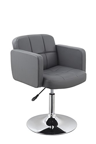 Clubsessel Sessel Kunstleder Grau Esszimmerstuhl Lounge Sessel höhenverstellbar drehbar Duhome 0495