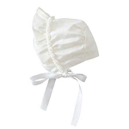 Baby Bonnet - YOPINDO Lovely Newborn Toddler Girls Sombreros para el sol Princess Style Hats Infantiles Rose Ribbon Bonnet With Chin Strap Cerrado para la espalda Sombrero (0-12 mes)