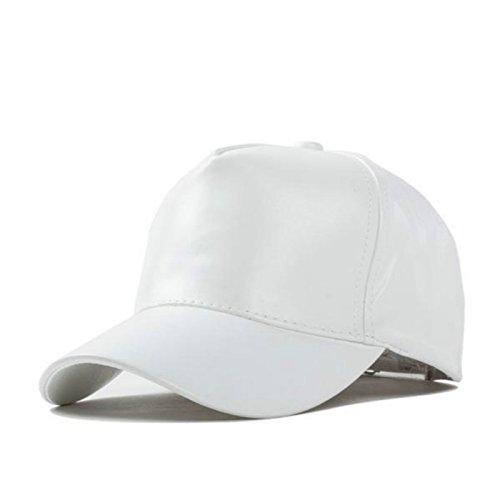 frixie (TM) Winter Damen und Herren Baseball Cap PU Leder Biker Trucker Outdoor Sport Snapback Hüte Kappen weiß