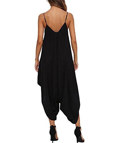 Auxo Donna Jumpsuit Vestiti Fionda V Collo Tuta Eleganti Piega Vestito dalla Spiaggia