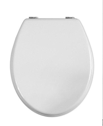 Vetrineinrete Copriwater universale in legno MDF tavoletta da bagno wc con cerniere in acciaio inox resistente (Bianco) B59