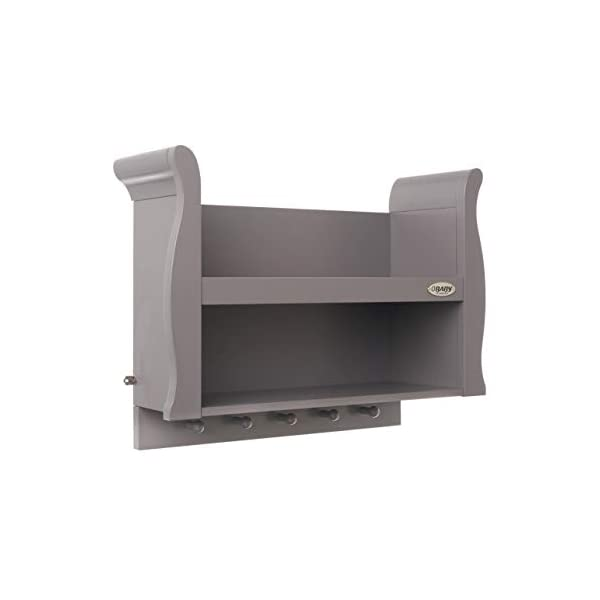 Obaby Stamford Sleigh Shelf - Taupe Grey Obaby 2 shelves provide extra storage for precious possessions Top shelf features a lip at the front for extra security 5 wooden pegs offer additional hanging space below 3