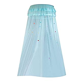 TOOGOO Children Elegant Tulle Bed Dome Bed Netting Canopy Circular Round Dome Bedding Mosquito Net,Aqua Green