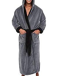 Moda Casual para Hombre Albornoces de Franela túnica con Capucha de Manga Larga Pareja Hombres Mujer Bata de Felpa Chal Kimono Masculino…