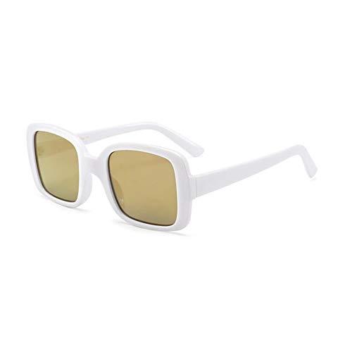 KCJKXC White Square Sonnenbrillen Damen Designer Sonnenbrillenbrand Gold Mirror Sun Glasses Ladies Unisex