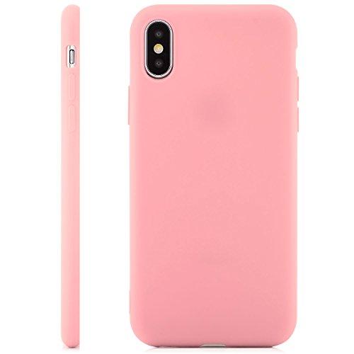 zanasta® iPhone X Hülle Case Silikon Soft Flex Schutzhülle Ultra-Slim Handyhülle Cover - Matt Türkis Rosa