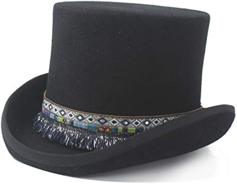 HongGXD Elegante Cappello a Cilindro Steampunk 2019 Uomo in Donna 100% Cappello  da Sposa in Uomo Lana Intrecciata Nappa... Parent 04d6ab d22d57129c81